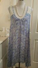 Boho Aust dress L blue white W lace insert back feature VGC uneven