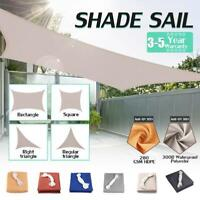 Sun Shade Sail 300D/280GSM Garden Patio Awning Canopy UV Block Waterproof 18Size
