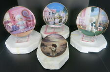 4 Pc Lot Precious Moments Hamilton Collection Plates W/ Easels