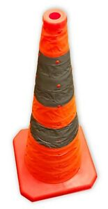 """*New* 12/Bx Reflective Pop-Up 28"""" Traffic Cones with Safety Strips & LED Light"""