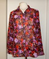 COLDWATER CREEK Long Sleeve Button Down Sheer Printed Top Shirt Size XS 4-6  NWT