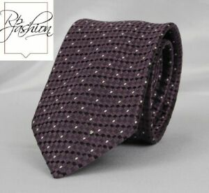 NEW! TOM FORD NECK TIE 100% SILK PURPLE BASKETWEAVE AND WHITE POLKA DOTS TFN97