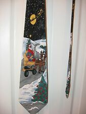 Men's Holiday Necktie - Christmas - Santa, Sleigh, Reindeer