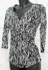 Ghost Ruched Wrapped Top Blouse Size 8 UK Fitted Black White
