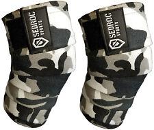 Sedroc Sports Weight Lifting Knee Wraps Bandage Straps Powerlifting - Gray Camo