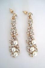 Gold Tone Alloy Diamante & Faux Pearl Dangle Stud Earrings *Pierced Ears
