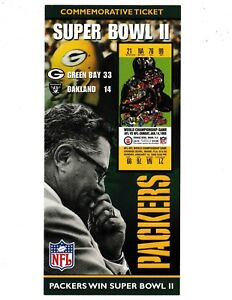 GREEN BAY PACKERS SUPER BOWL II COMMEMORATIVE TICKET LIMITED TO 10,000 MADE