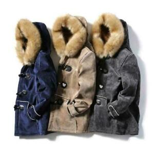 Winter Mens Fluffy Fur Collar Suede Overcoat Claw Button Furry Lining Jackets
