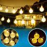 2X Solar 17.5ft 30 LED Globe Crystal Ball Bubble Garden Light Xmas String Lamp