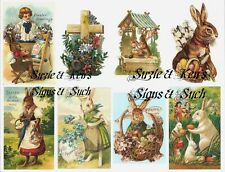 Easter Stickers Vintage Victorian Postcard Reproductions 16 Total