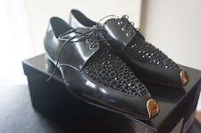 $1475+NEW Giorgio Armani Black Leather/Black Rhinestone Flats SzIT40/US9.5