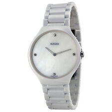Rado True Thinline Mother of Pearl Dial White Ceramic Mens Watch R27957902