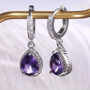 Fashion Women Amethyst Gems  Engagement Wedding Earrings 925 Silver Fine Jewelry