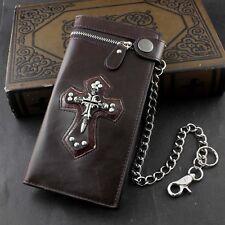 Men Boy Skull Gothic Cross Zipper Checkboot Long Leather Biker Wallet With Chain