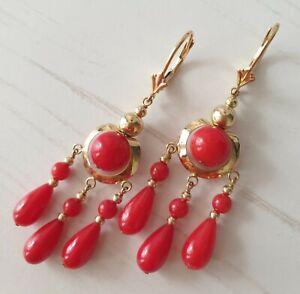 Ohrringe gelbgold mit roter Koralle, 5,09 Gramm, ca.5,3 cm, gestempelt 14k.