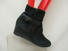 Aquatalia Black Suede Leather Zip Buckle Wedge Ankle Fashion Boots Sz 8.5 M