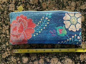 Erin Condren Pen Pencil Pouch Case Blue Flowers Denim Look