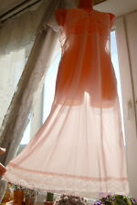 NOS VINTAGE SHEER NYLON PINK FEMINE SEXY WIDE LACE SLIP L-XL