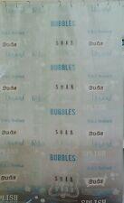 New INDIA INK 100% PEVA BUBBLE BATH SHOWER CURTAIN SPLISH SUDS SOAK BLUE WHITE