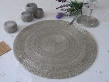 Set 4 Round Glass Beaded Silver Placemats Table Place Mats Coasters Napkin Rings