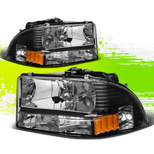 BLACK HEADLAMP HEAD LIGHT AMBER TURN SIGNAL MARK FOR 97-04 DODGE DAKOTA/DURANGO