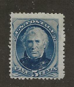 US Stamp #185 1879 Blue 5 Cent Zachary Taylor Bank Note Mint OG Hinged SCV $425