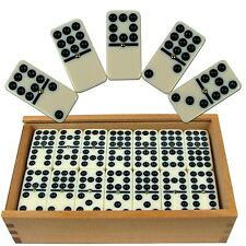 Premium Set of 55 Double Nine Dominoes with Wood Case, Brown