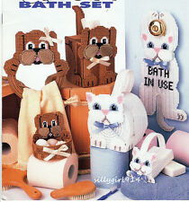 """BOW-WOW & MEOW BATH SET""~Annie's Plastic Canvas PATTERN BOOK ONLY~SEE PICTURES"