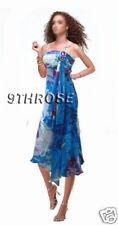 ADORABLE COCKTAIL/PARTY DRESS WITH PLEATS & RHINESTONES; BLUE PRINTS; AU 8/US 6
