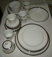 Premiere Dawn 38 Pcs, Cups, Saucers, Bread Plates, Soup Bowl White Platinum Trim