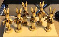 "Vintage Dregeno MIB 2.5"" Bunny Rabbit Band Wooden Figure Set"