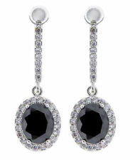 Rhodium Plated Drop/Dangle Oval Costume Earrings