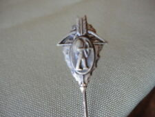 Lapel pin stick Pin Hat Arrowhead Tribal Indian w bow Silver Jewelry Vintage