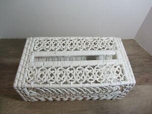 White Wicker Rectangular Tissue Box Holder EUC