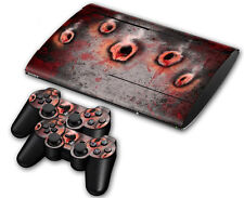 PS3 PlayStation 3 Super Slim Skin Design Aufkleber Schutzfolie - Bullet Holes 2