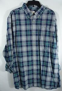 Men Woven Shirt XXL Chest Pocket Cotton Gray Plaid
