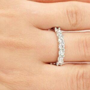14k White Gold Finish 2Ct Round Diamond Eternity Band Anniversary Ring Women's 6