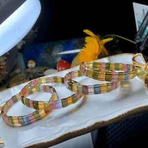 Genuine Natural Colorful Tourmaline Rainbow Rectangle Bead Bracelet 6×9mm AAAA