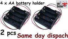 2 X PC CASE della batteria in plastica nera titolare Wire 4 x 1.5 V AA UK STOCK FREEPOST