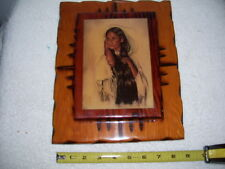 Vintage  Indian Girl Wood Working Nice Plague - By P. Cross