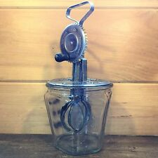 Vtg A&J Crank HAND MIXER Egg Beater Patent OCT 9 1923 USA Wood Handle Jar TOP