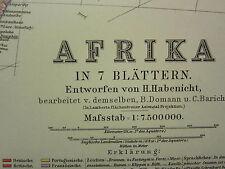 1907 datato mappa ~ l'Africa occidentale Madagascar Somalia Maurizio
