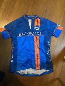 Louis Garneau Cycling Jersey Womens Medium Backroads Half Zip Blue/Orange