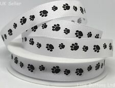 FULL ROLL 20m Paw Print Black and White Grosgrain Ribbon 15mm Cat Dog Puppy