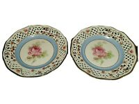 Vtg Lot Rose Bavarian Dresden Schumann Plate Set 2 Reticulated Floral Motif 7.5""