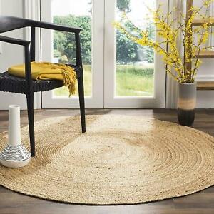 Rug 100% Natural Jute Bohemian Round 4x4 Feet Rug Area Floor Living Room Carpet