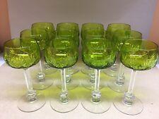 6 Roemer  en cristal. Modèle ANVERS vert .H: 168 mm Val Saint Lambert