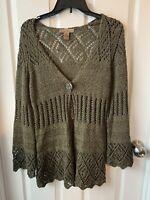 Marisa Christina Green Cable Knit Sweater Cardigan Bell Sleeve - Sz Medium