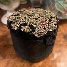 Beautiful Antique Victorian Black Velvet Jewellery Trinket Box Gold Thread