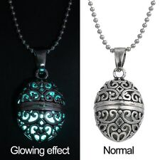 New Magic Egg Oval Locket Glow in the Dark Oil Diffuser Necklace Pendant Charms